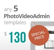 5 Photo and Video Admin flash templates bundle package