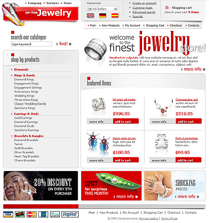 Jewelry Store, HTML template
