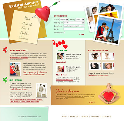 Dating, Website template