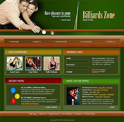 Name: Billiard - Type: Website template - Item number:300076368