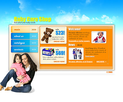 BabyCare shop, Flash template