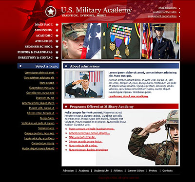 Academy Military, Website template