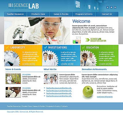 Science Lab, HTML template