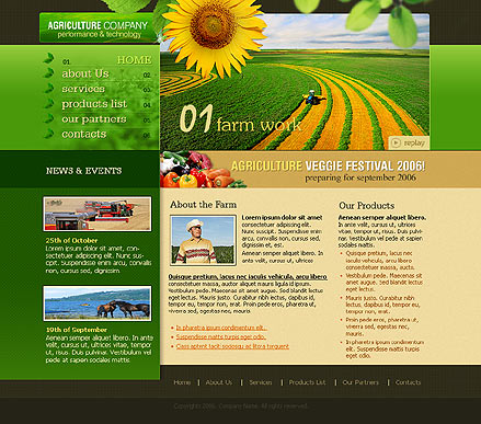 Farm, Website template