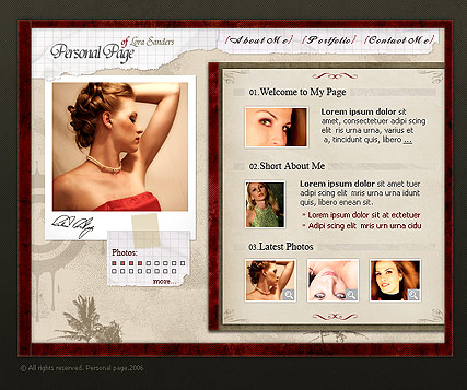 Personal page, Flash template