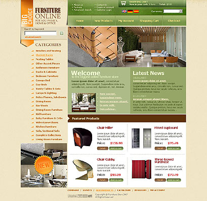Furniture store, HTML template
