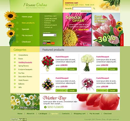 Flowers store, HTML template