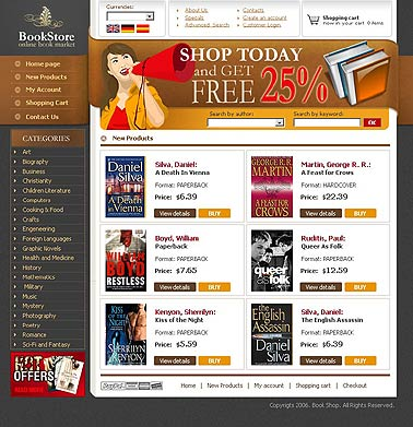 Book store, HTML template