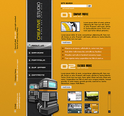 Creative studio, Flash template