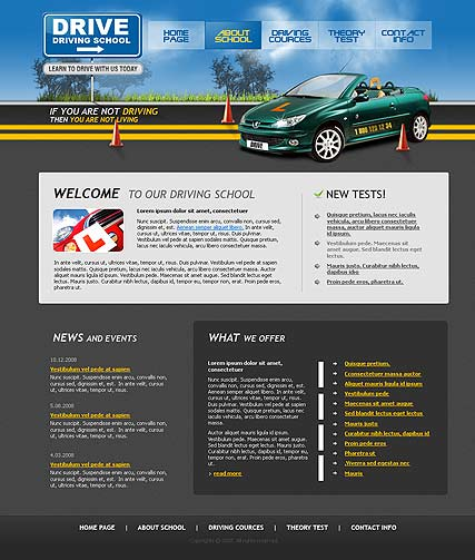 Driving School Website Template ID - Information website template