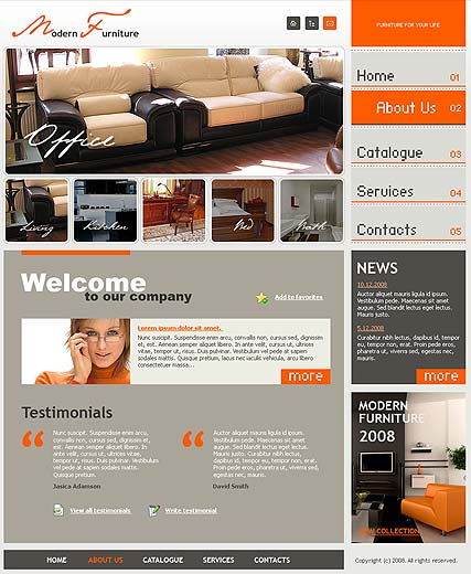 Modern furniture, Website template