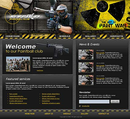 Paintball club, Website template