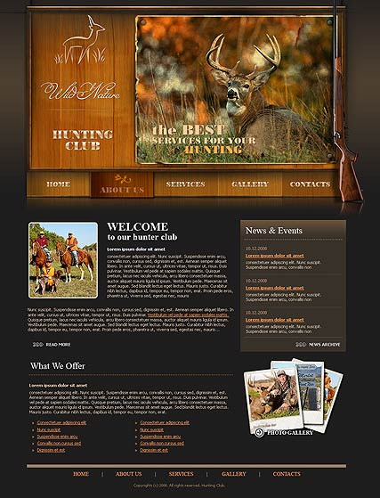 Hunters club, Website template