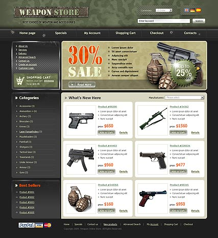 Weapon Store, osCommerce template