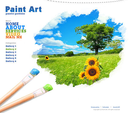 Paint Art, Dynamic Photo and Video Gallery Admin flash template
