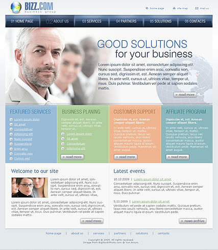 Business group, Website template