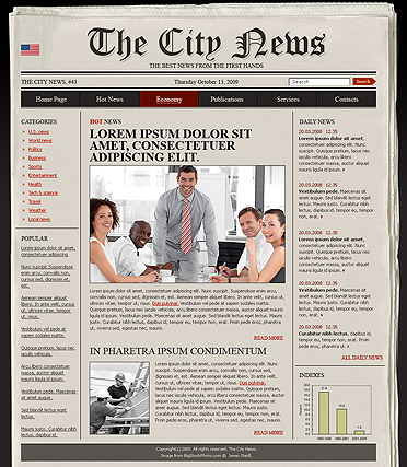 Newspaper, HTML template