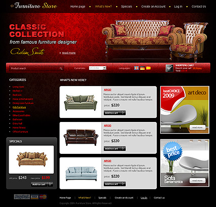 Furniture Store, osCommerce template