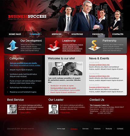 Name: Business Red - Type: Website template - Item number:300110630