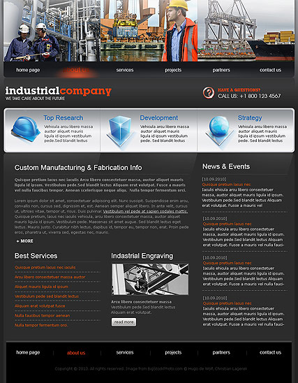 Name: Industrial Company - Type: Website template - Item number:300110637