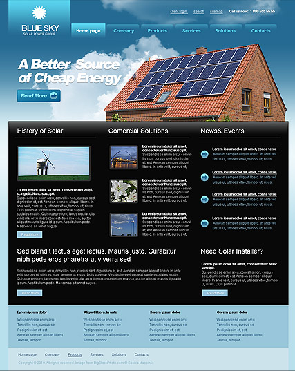 Solar Energy, Website template