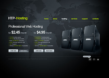 Web Hosting, Easy flash template