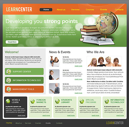Learning Center, HTML template