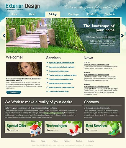 Exterior design, Website template