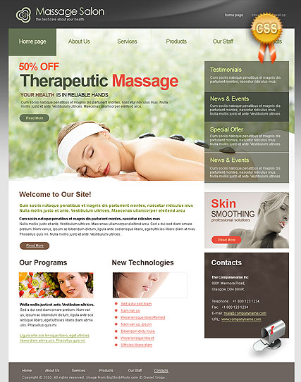 CSS Massage Salon, HTML template