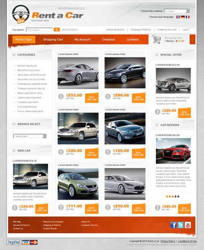 For Rent Websites: OsCommerce Template ID:300110860