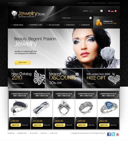 Jewelry store, osCommerce template