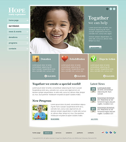 Charity Hope, HTML template