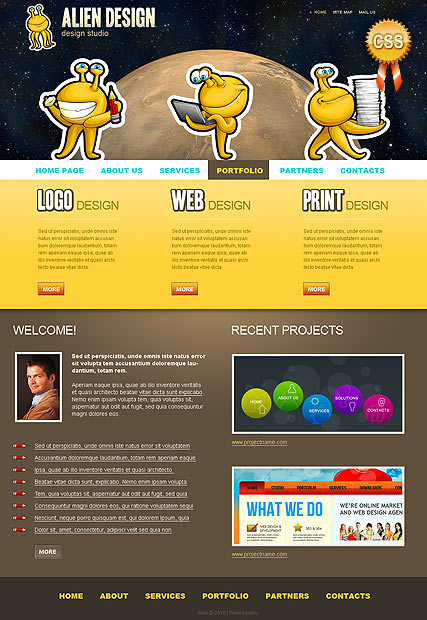Name: Alien Design - Type: Website template - Item number:300110923