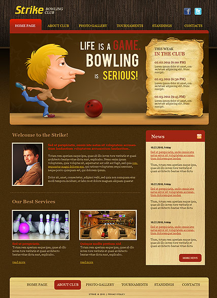 Name: Bowling Club - Type: Website template - Item number:300110929