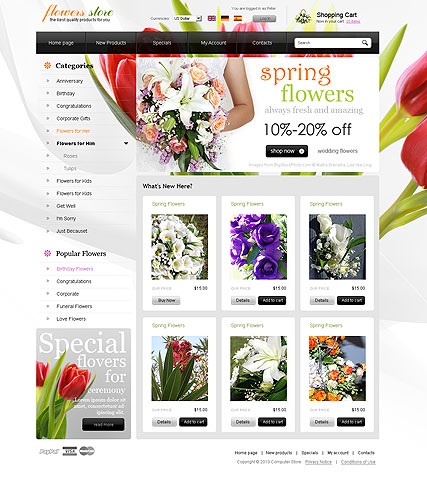 Flowers store, osCommerce template