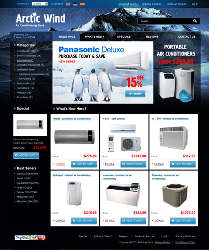 Air Conditioning 2.3ver, osCommerce template