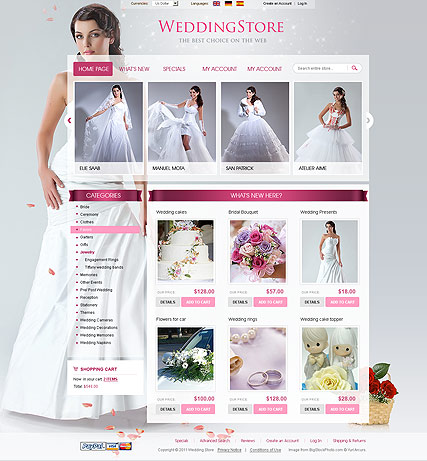 Wedding Store 2.3ver, osCommerce template