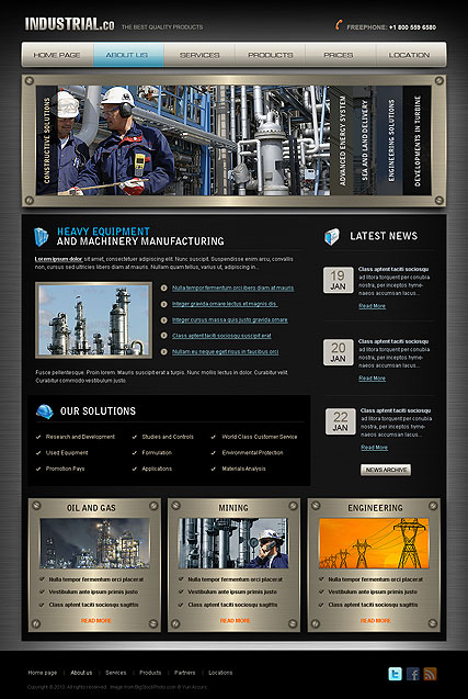 Industrial, HTML template
