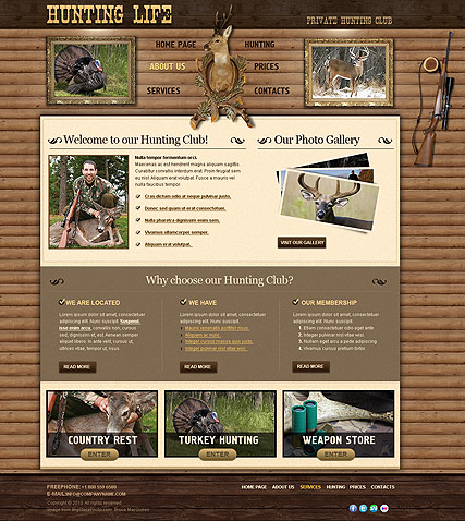 Hunting Club, Website template
