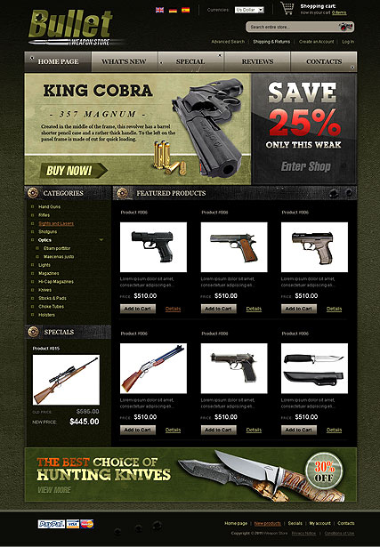 Weapon Store 2.3ver, osCommerce template