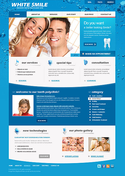 Dentist, Website template