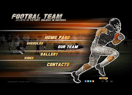 Footbal team, Dynamic Video Gallery Admin flash template