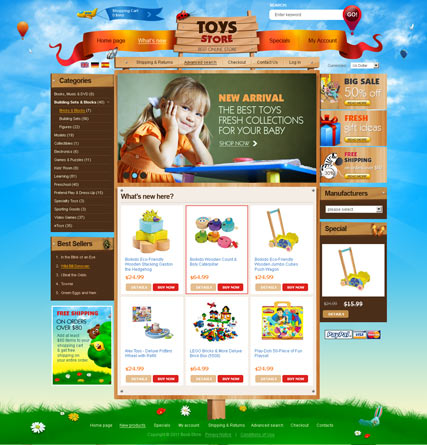 Toys Store 2.3ver | osCommerce template | ID:300111045
