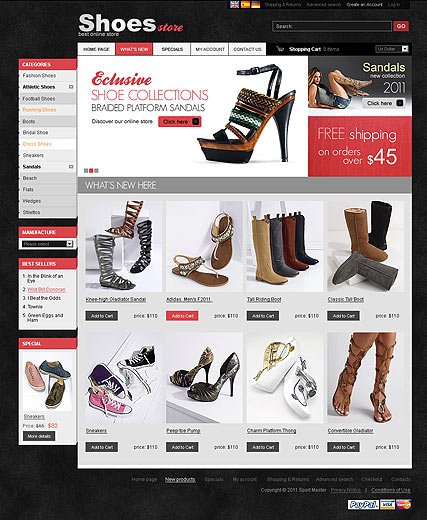 Shoes Store 2.3ver, osCommerce template
