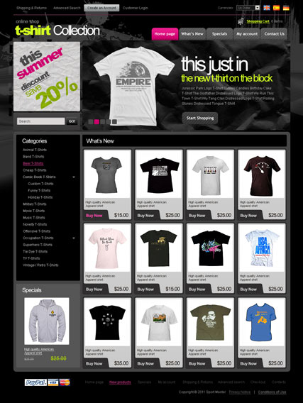 T-Shirts 2.3ver | osCommerce template | ID:300111064