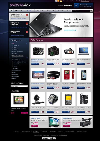 Electronic store 2.3ver | osCommerce template | ID:300111079