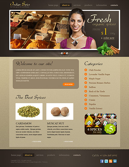 Spices, HTML template