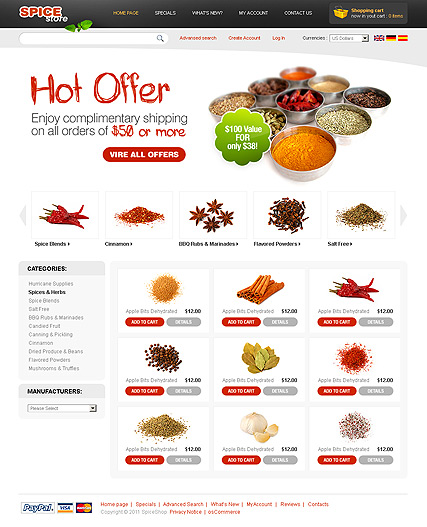 Spices 2.3 ver | osCommerce template | ID:300111137