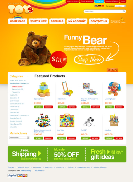 Toys Store 2.3ver | osCommerce template | ID:300111140