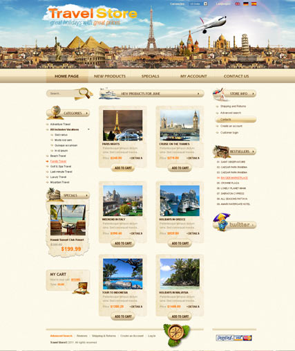 Travel Agency 2.3ver | osCommerce template | ID:300111143